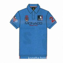 Men's polo shirts with embroidery and embroidered fabric patch in customized design